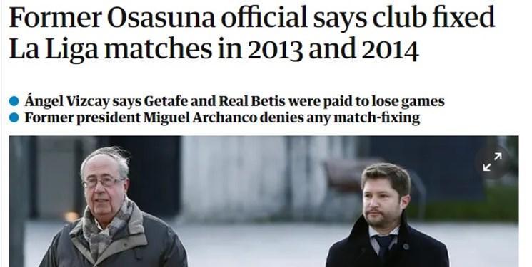 رشوه یک میلیون 200 هزار یورویی رئیس اوساسونا به رقبا