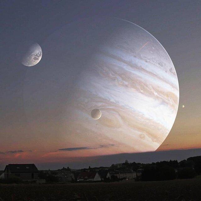 امشب؛ هم نشینی مشتری با ماه کامل