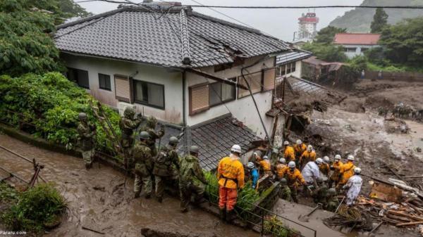 (تصاویر) در جستجوی مفقودان رانش زمین در ژاپن